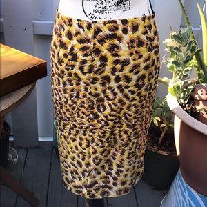 Norma Kamali leopard stretchy bodycon skirt size M